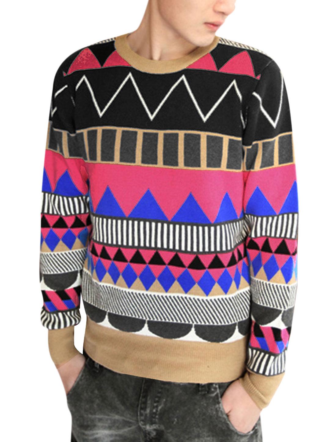 Men Round Neck Long Sleeve Fuchsia Blue Geometric Pattern Warm Sweater S