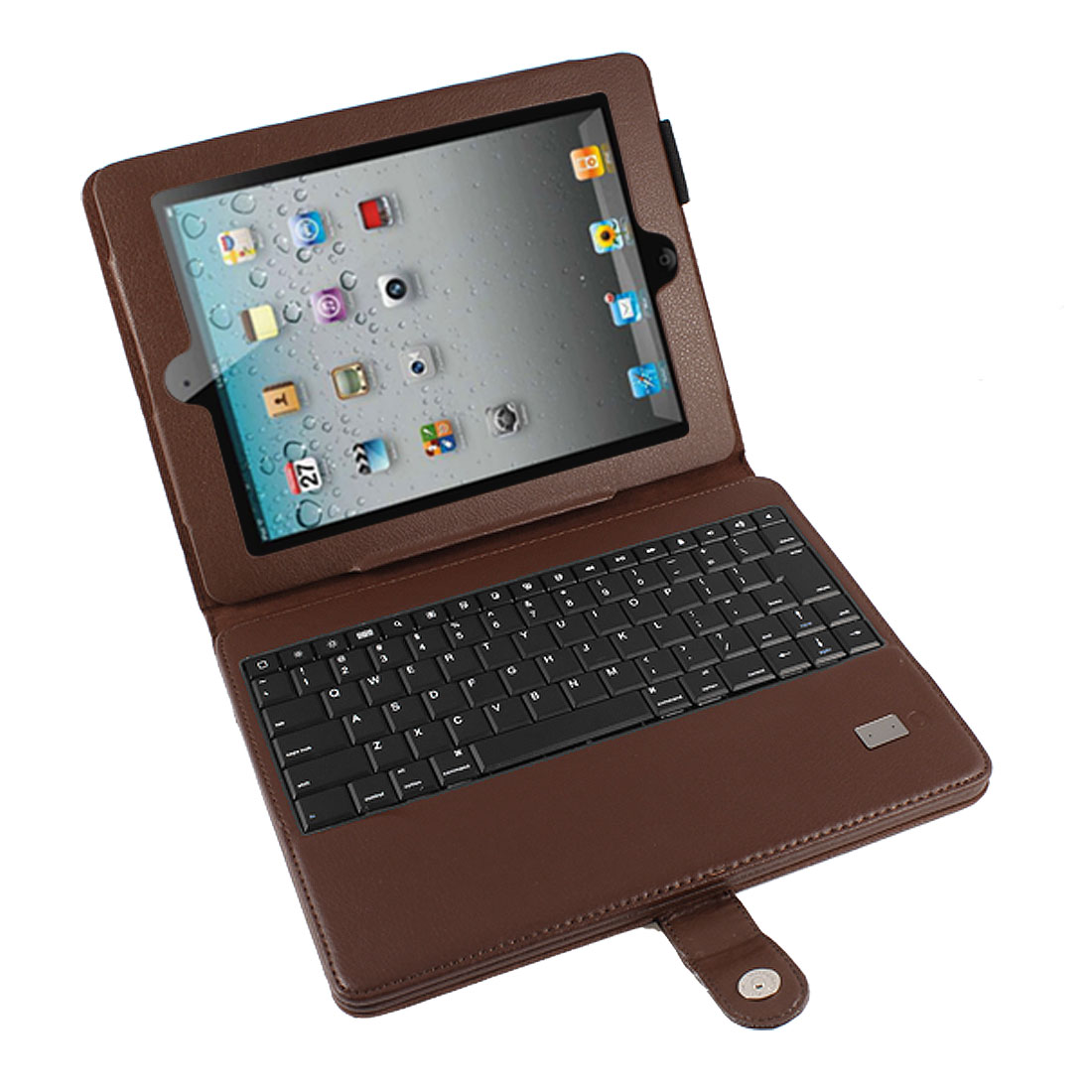 Removable Wireless bluetooth Keyboard PU Leather Stand Case Brown for iPad 2 3 4