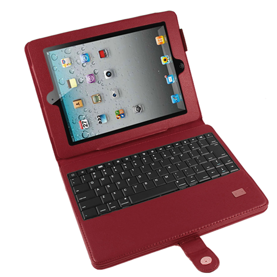 Removable Wireless bluetooth Keyboard PU Leather Stand Case Red for iPad 2 3 4