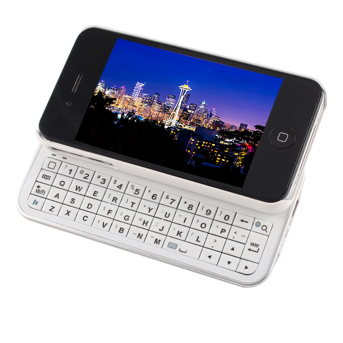 White Wireless bluetooth Slide Backlight Keyboard w Back Case for iPhone 4 4S 4G