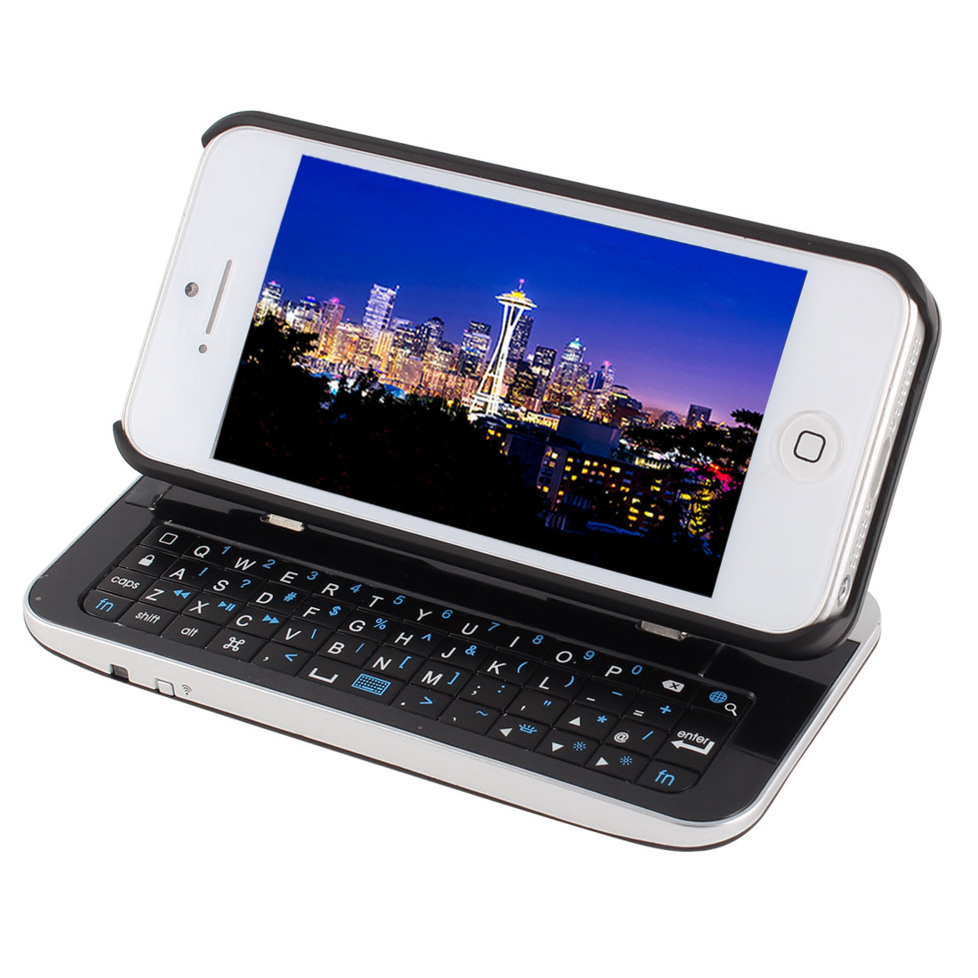 Detachable Slide Stand bluetooth Backlight Keyboard Back Case Black for iPhone 5