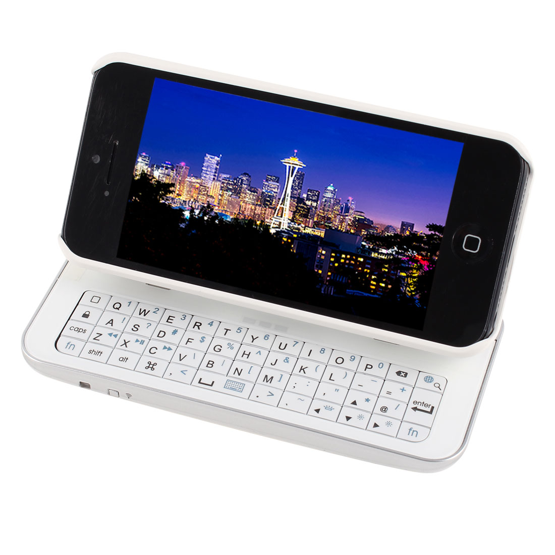 Detachable Slide Stand bluetooth Backlight Keyboard Back Case White for iPhone 5