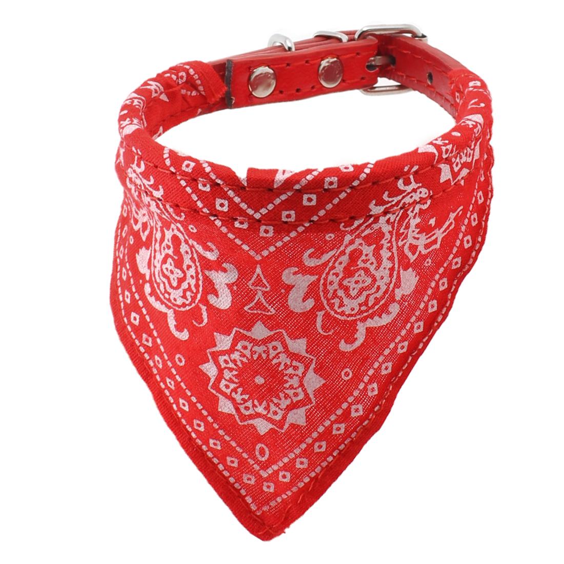 Whtie Floral Pattern Triangular Scarf 5 Hole Belt Dog Pet Neck Collar