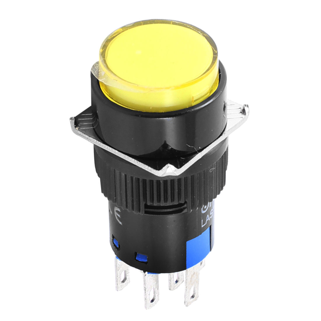 Yellow Neon Light AC 220V 5A Round Momentary Push Button Switch