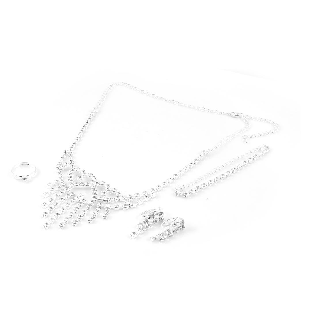 Women Bling Bling Rhinestone Decor Bracelet Finger Ring Jewelry 4 in 1