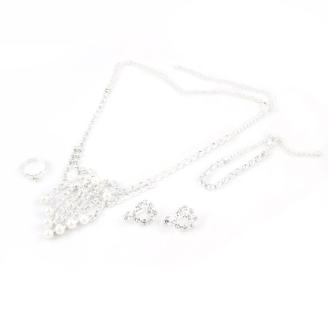 Lady Rhinestones Beads Dangling Necklace Clip on Earrings Jewelry 4 in 1