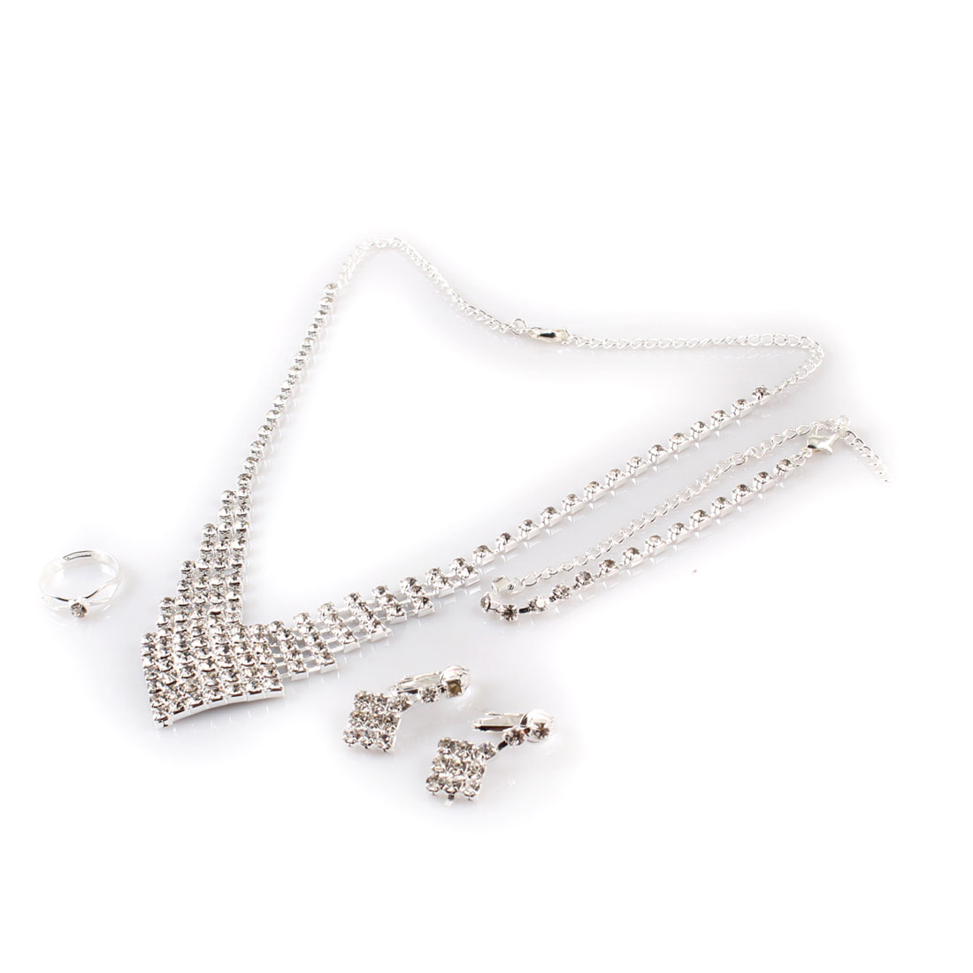 Lobster Clasp Adjustable Rhinestone Bracelet Necklace 4 in 1 Jewelry for Lady