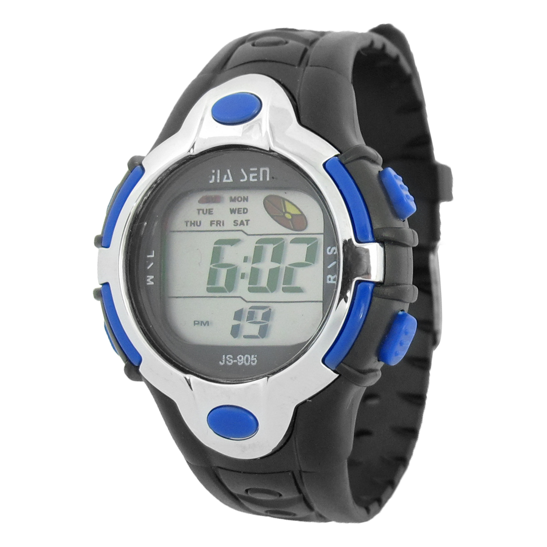 Kids Black Soft Plastic Band Silver Tone Blue Round Case Sports Wrist Watch