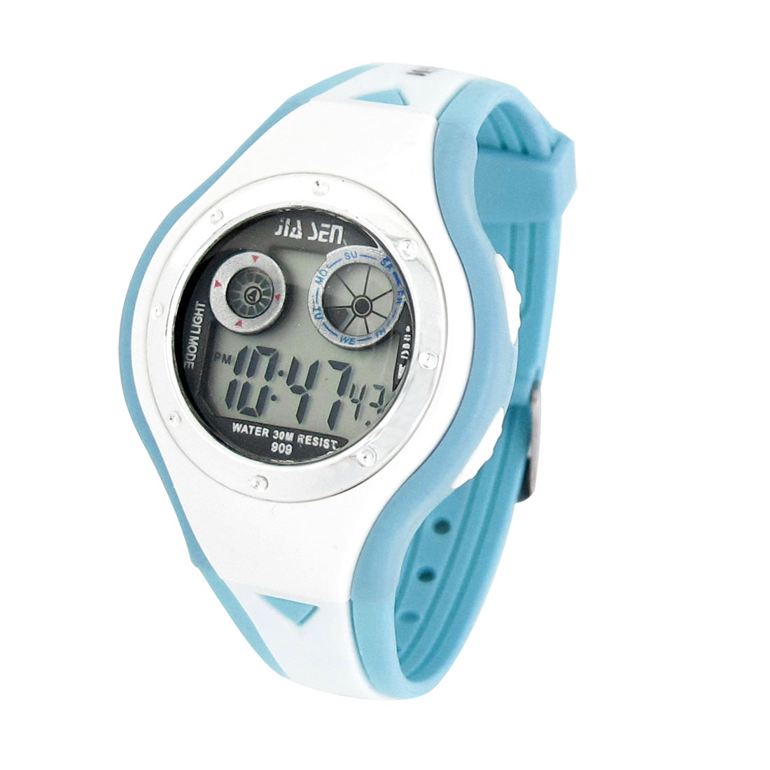 Child Adjustable Baby Blue White Band Alarm Clock Cold Light Sports Wrist Watch