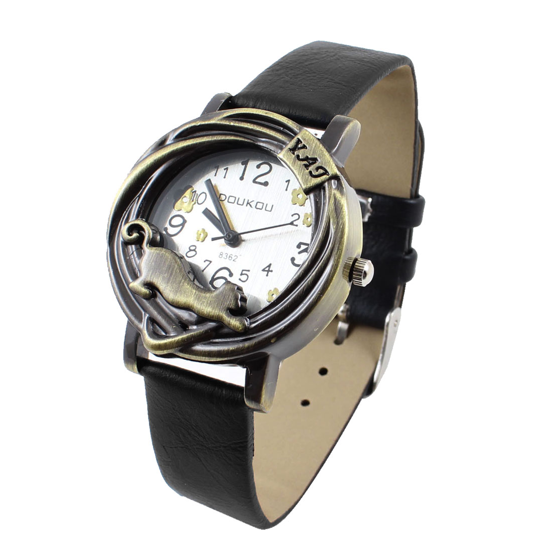 Lady Arabic Number Display Round Dial Adjusting Wristband Watch Black