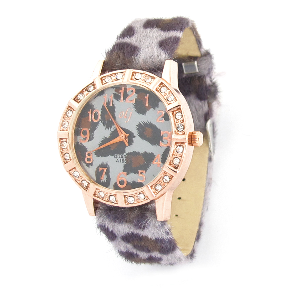 Lady Gray Leopard Print Band Copper Tone Faux Rhinestone Accent Case Wrist Watch