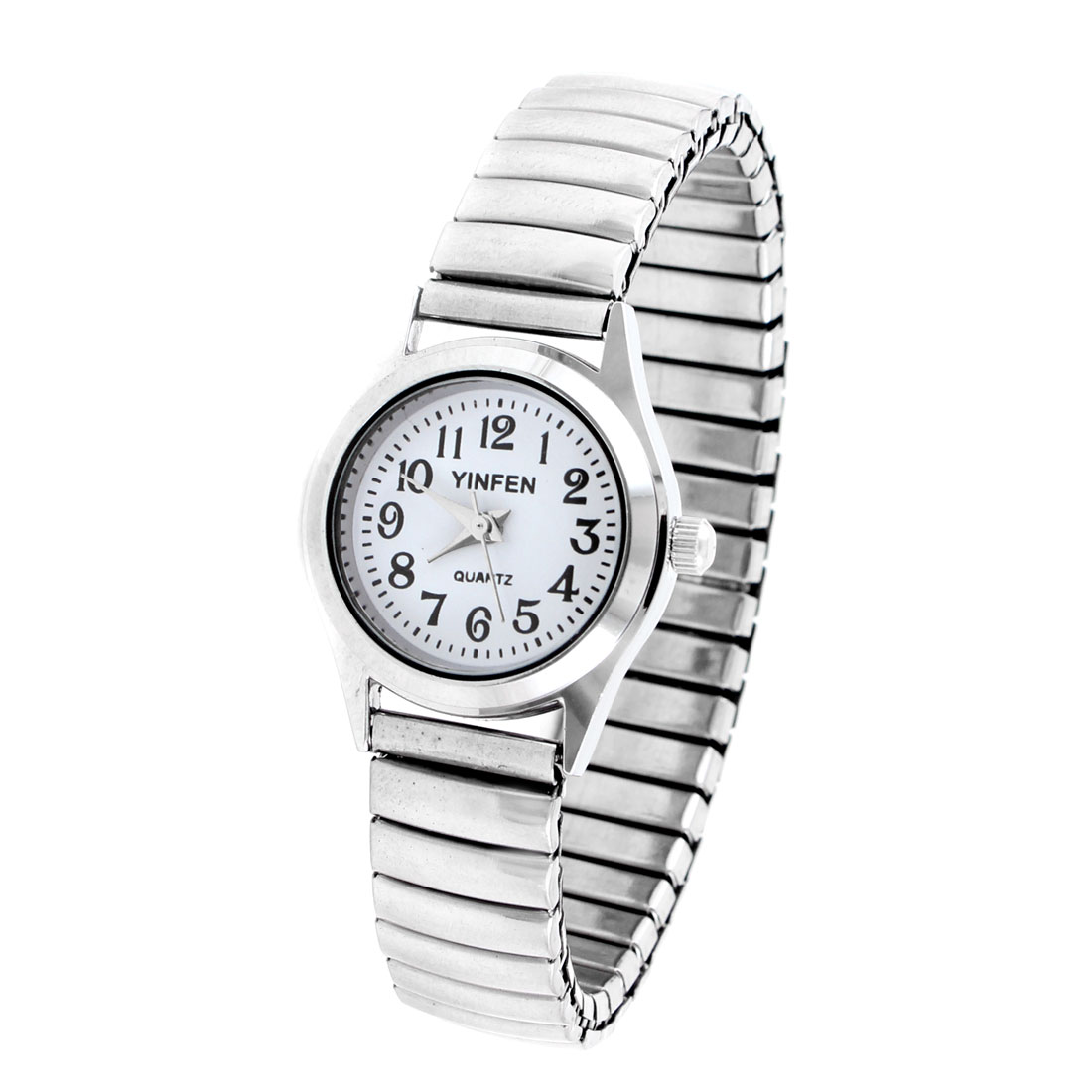 Lady Wrist Decor Silver Tone Band White Round Dial Quartz Watch
