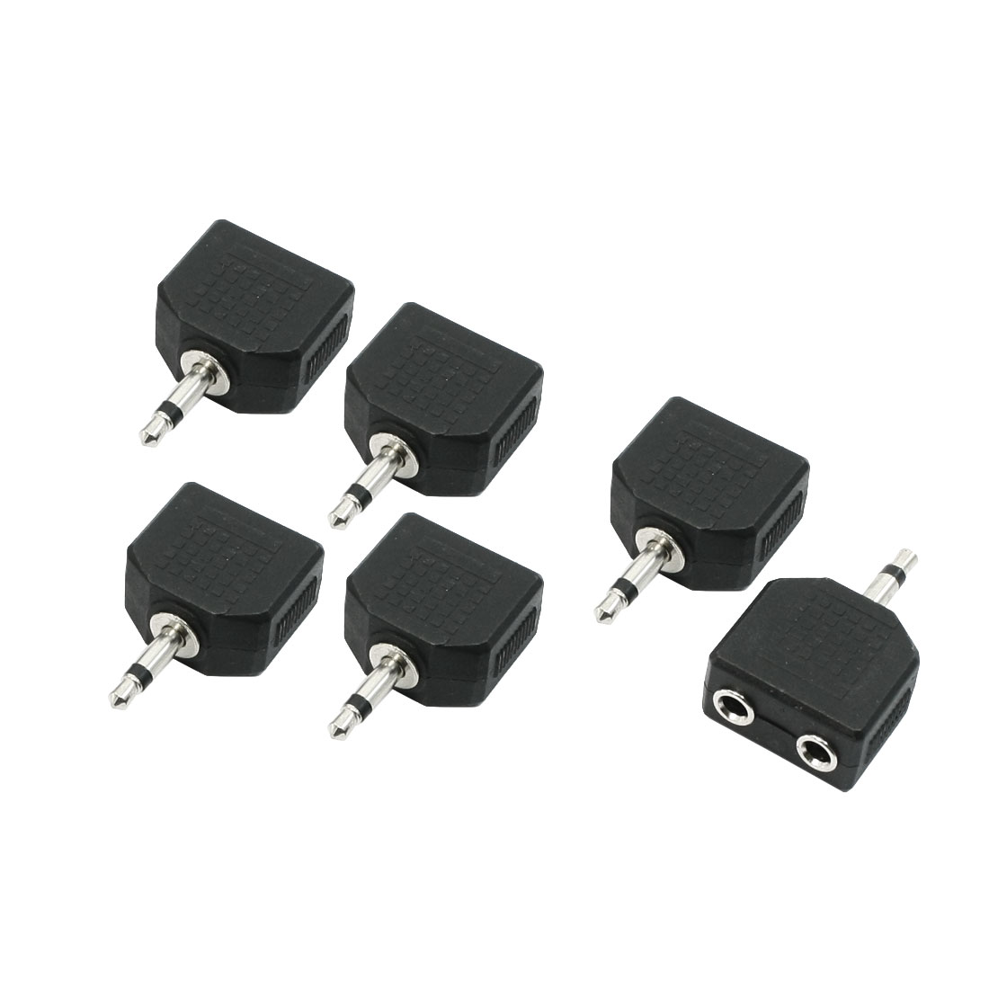 6 Pieces 3.5mm Mono Audio Plug to 2 Port 3.5mm Jack Splitters Adapters