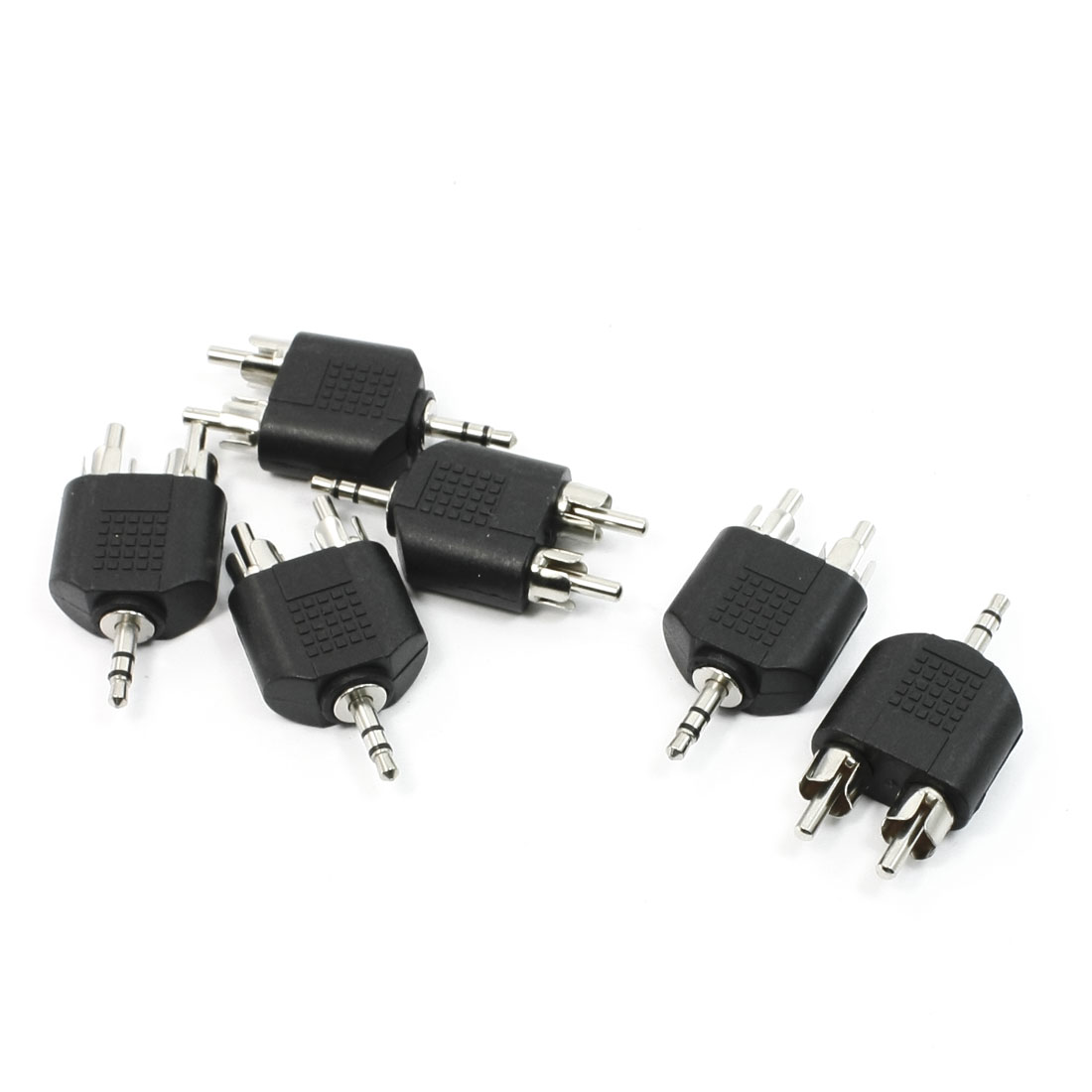 6 x Staight Shape 3.5mm Stereo Audio Male Plug to 2 RCA Male Connector Adapters