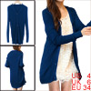 Woman Long Sleeves Single-Breasted Knitted Cardigan Royal Blue S