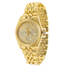 Men Gift Round Dial Gold Tone Watchband Quartz Wrist Watch