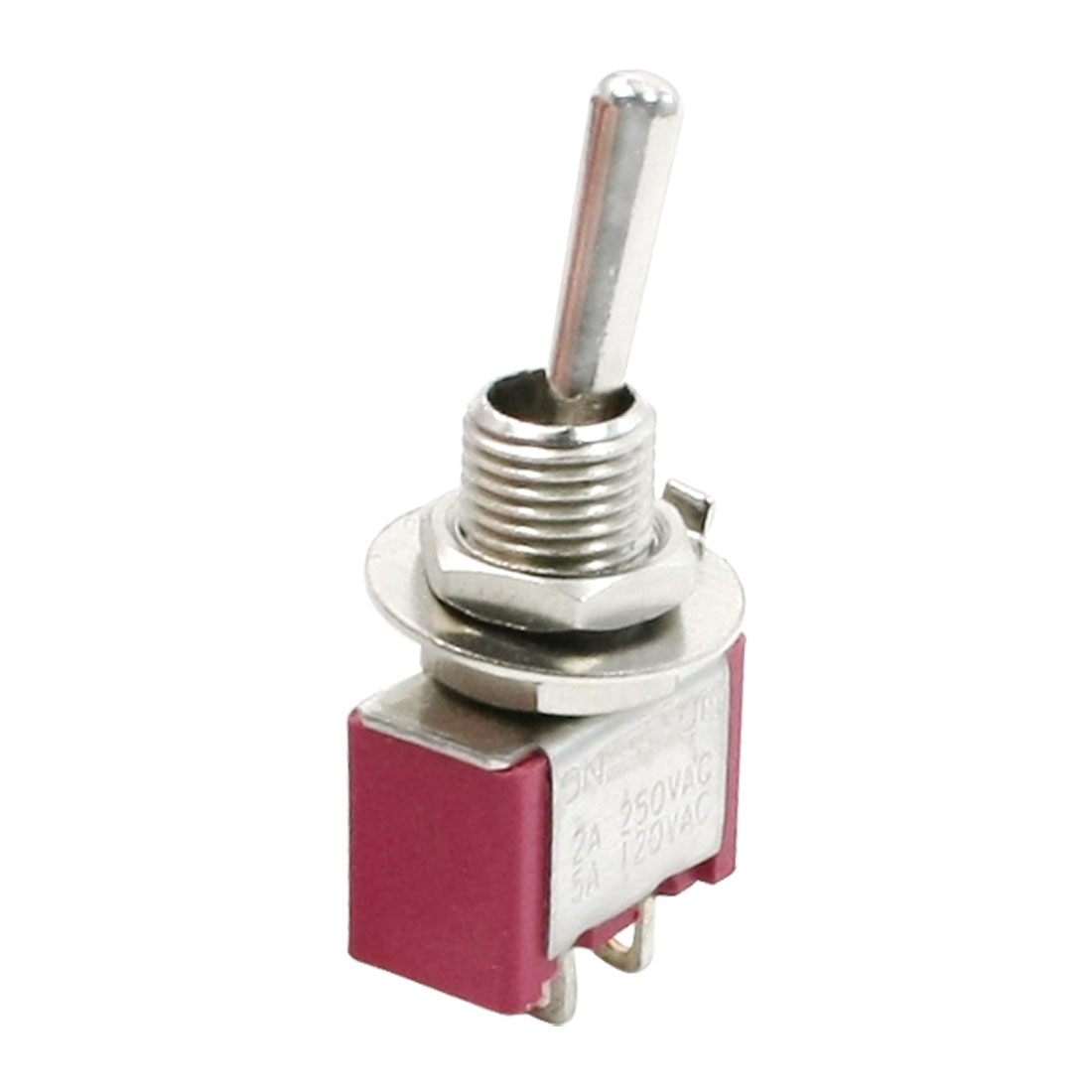 Red AC 125V 5A SPST On/Off 2 Positions Miniature Toggle Switch