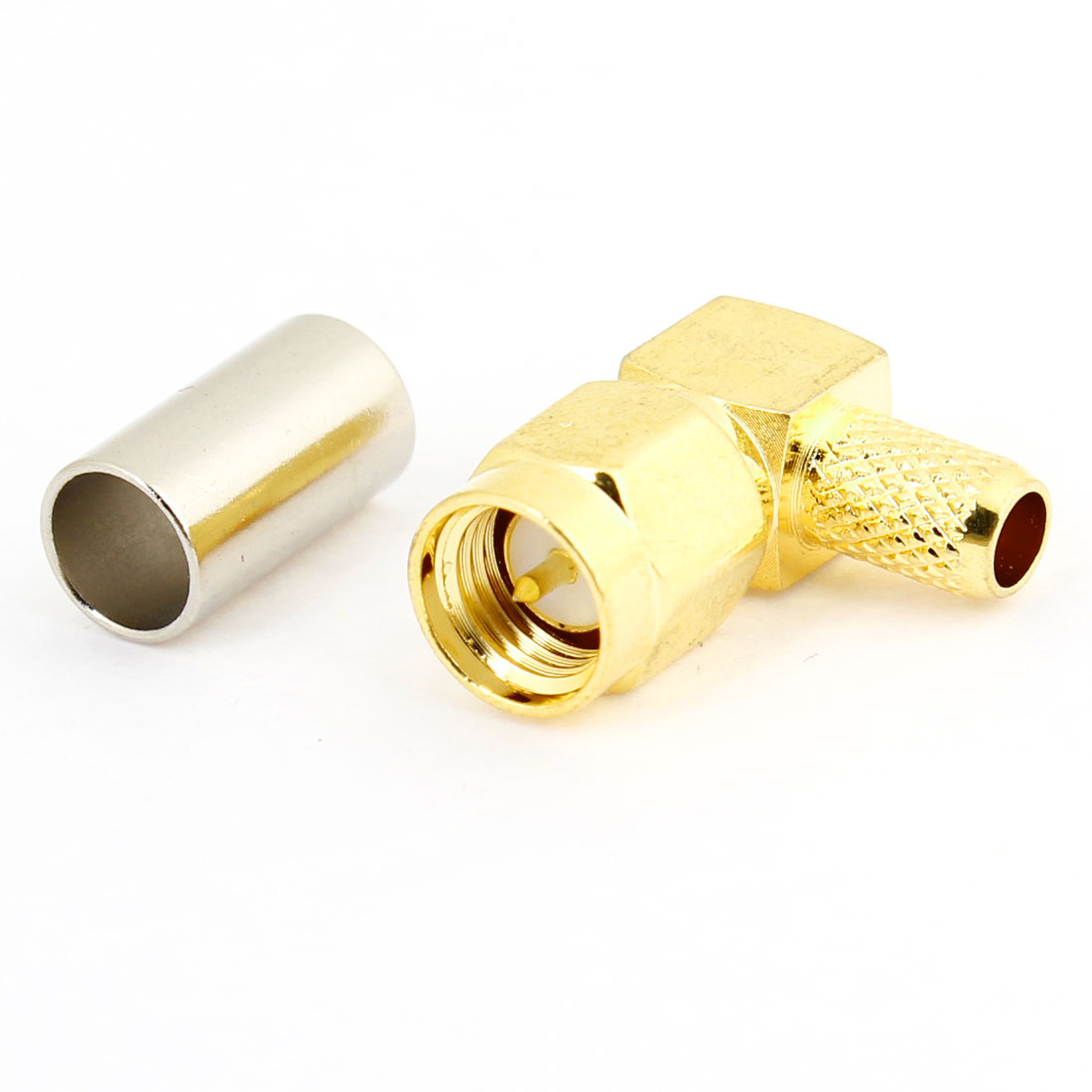 SMA-JW-3 Male Plug Right Angle Crimp RF Connector Adapter Gold Tone
