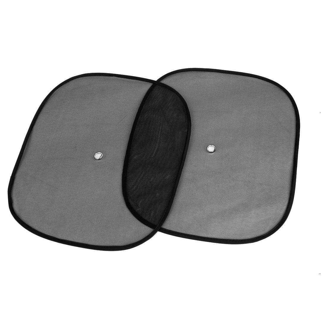 2 Pcs Auto Foldable Rectangle Side Window Sun Shade Black w Suction Cup