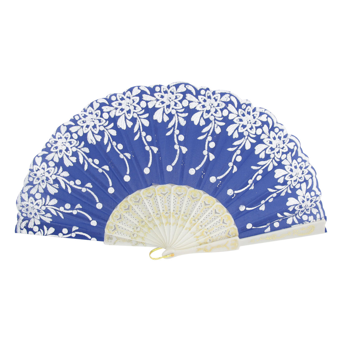 Floral Print Royal Blue Nylon Fabric Hanging Ring Hand Fan