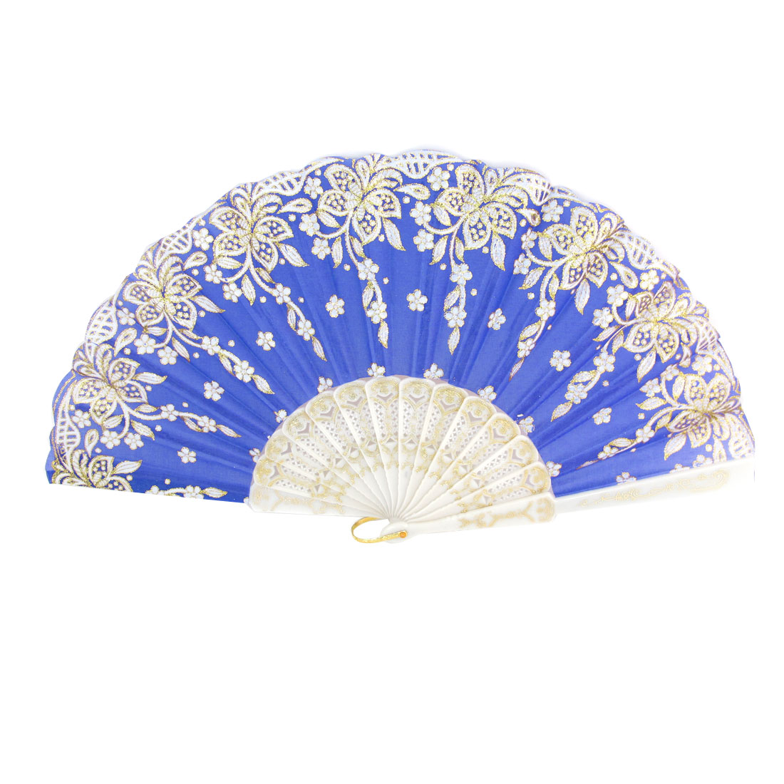Flower Print Plastic Ribs Foldable Royal Blue Hand Fan for Dancing