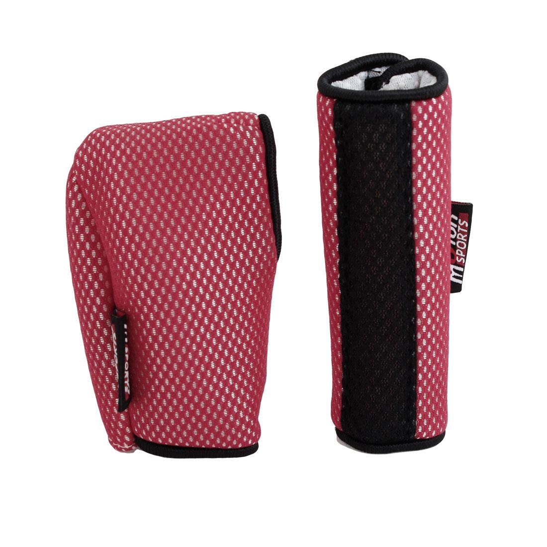 2pcs Hook Loop Fastener Car Gear Shift Knob Handbrake Cover Sleeve Red