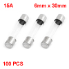 100PCS 6mm x 30mm Fast Acting Type Glass Tube Fuses 15A