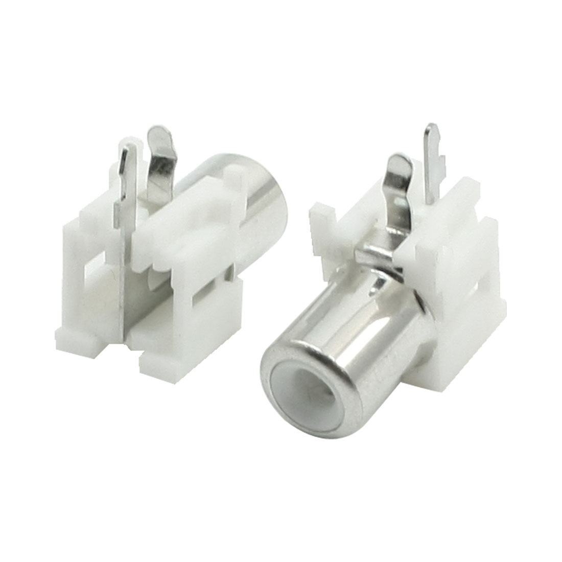 2Pcs AV Female Jack RCA Socket Connector White Silver Tone