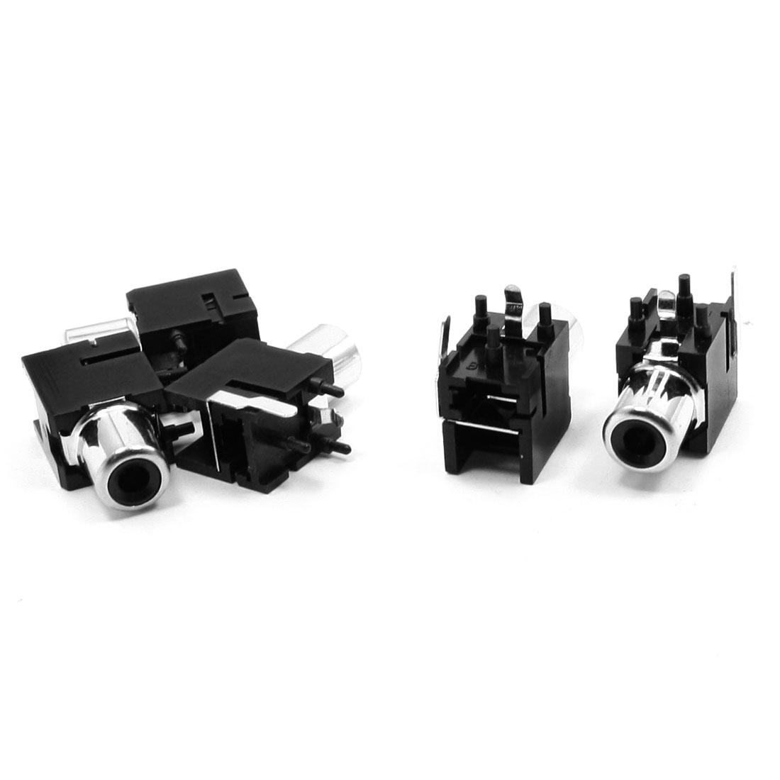 5PCS 2 Terminals RCA Mount 3.5mm Jacks Connectors Socket Black