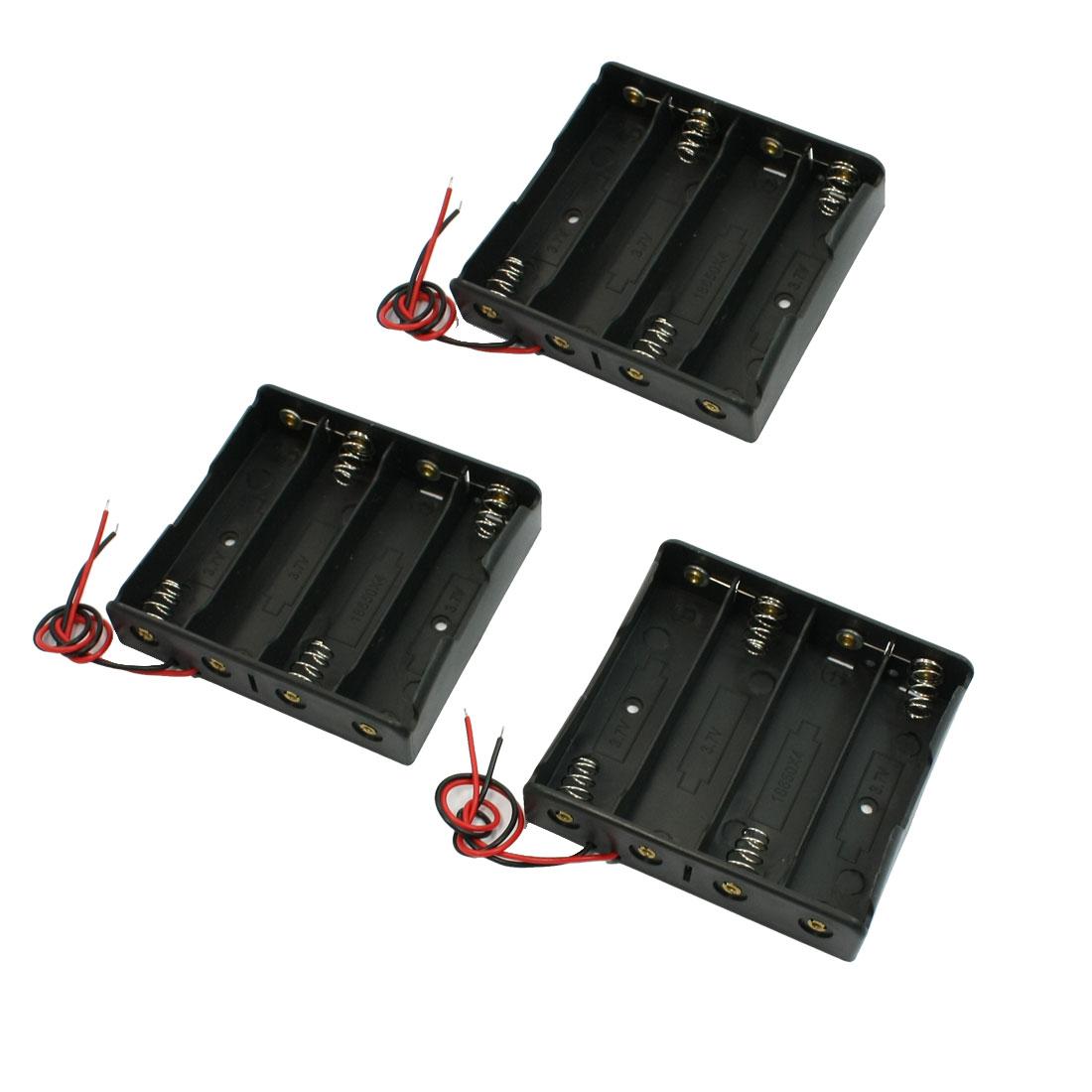 3PCS Black 4x18650 3.7V Battery Holder Storage Case Box w Wire Leads