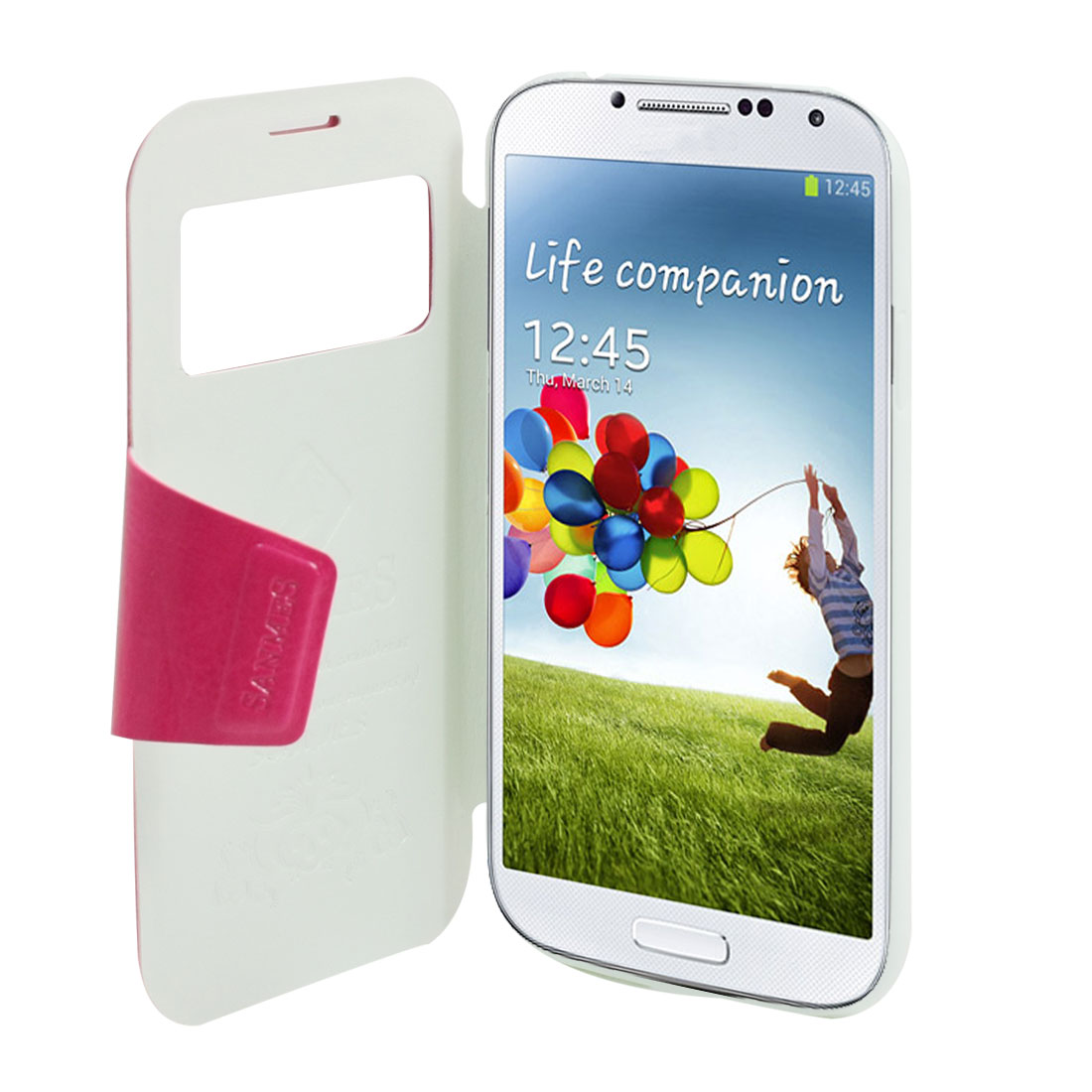 Fuchsia S View Caller ID Flip Cover Case Stand for Samsung Galaxy S4 i9500