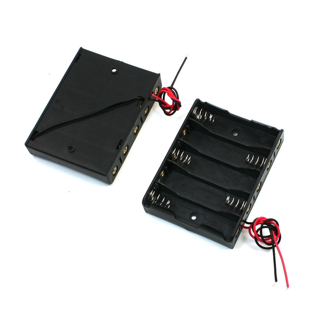 5 x 1.5V AAA Battery Slot Holder Case Box Wire Black 2pcs