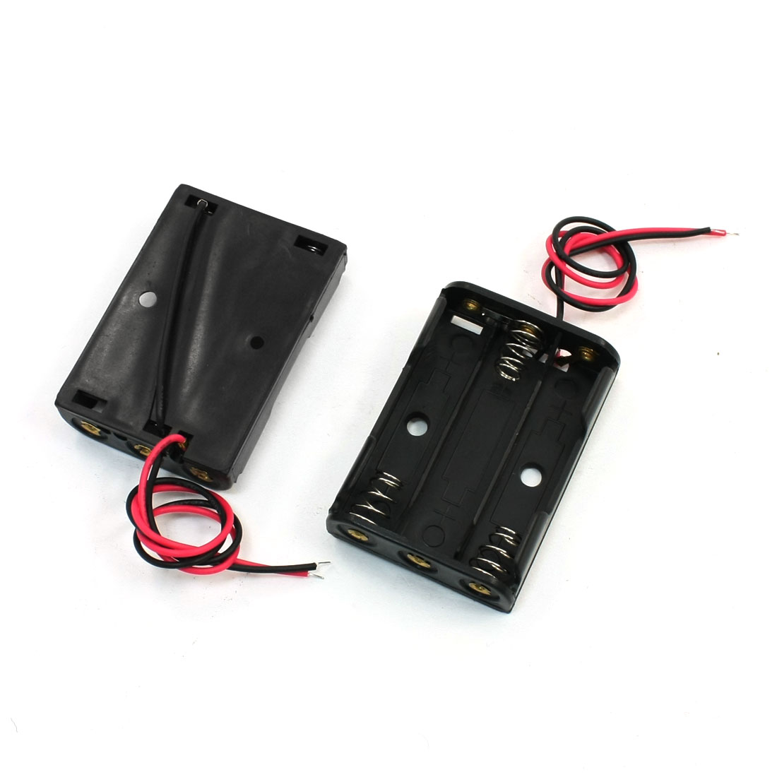 2Pcs Spring Clip 3 x 1.5V AAA Battery Holder Case Box Wire