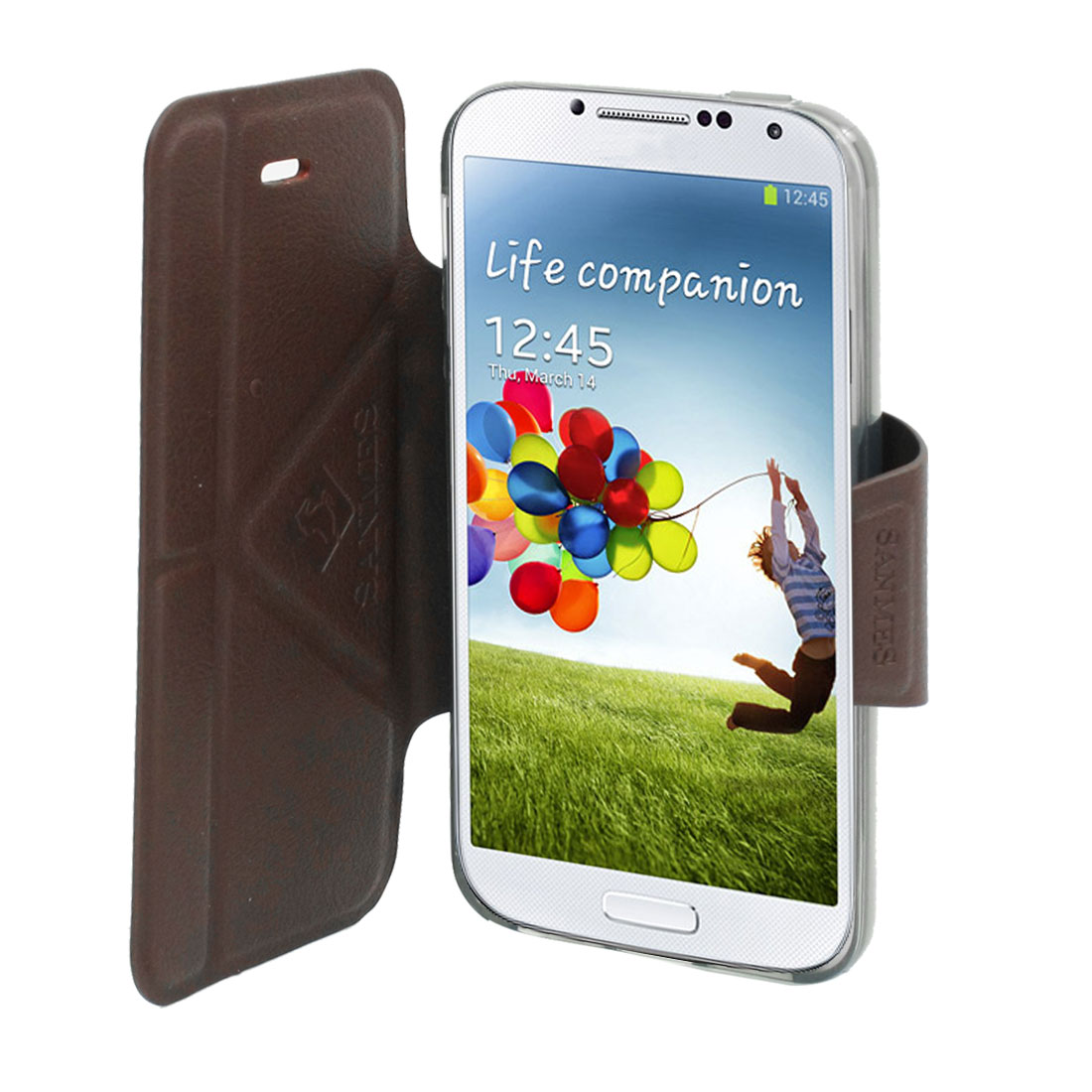 Dark Brown Faux Leather Flip Stand Case Cover for Samsung Galaxy S4 i9500