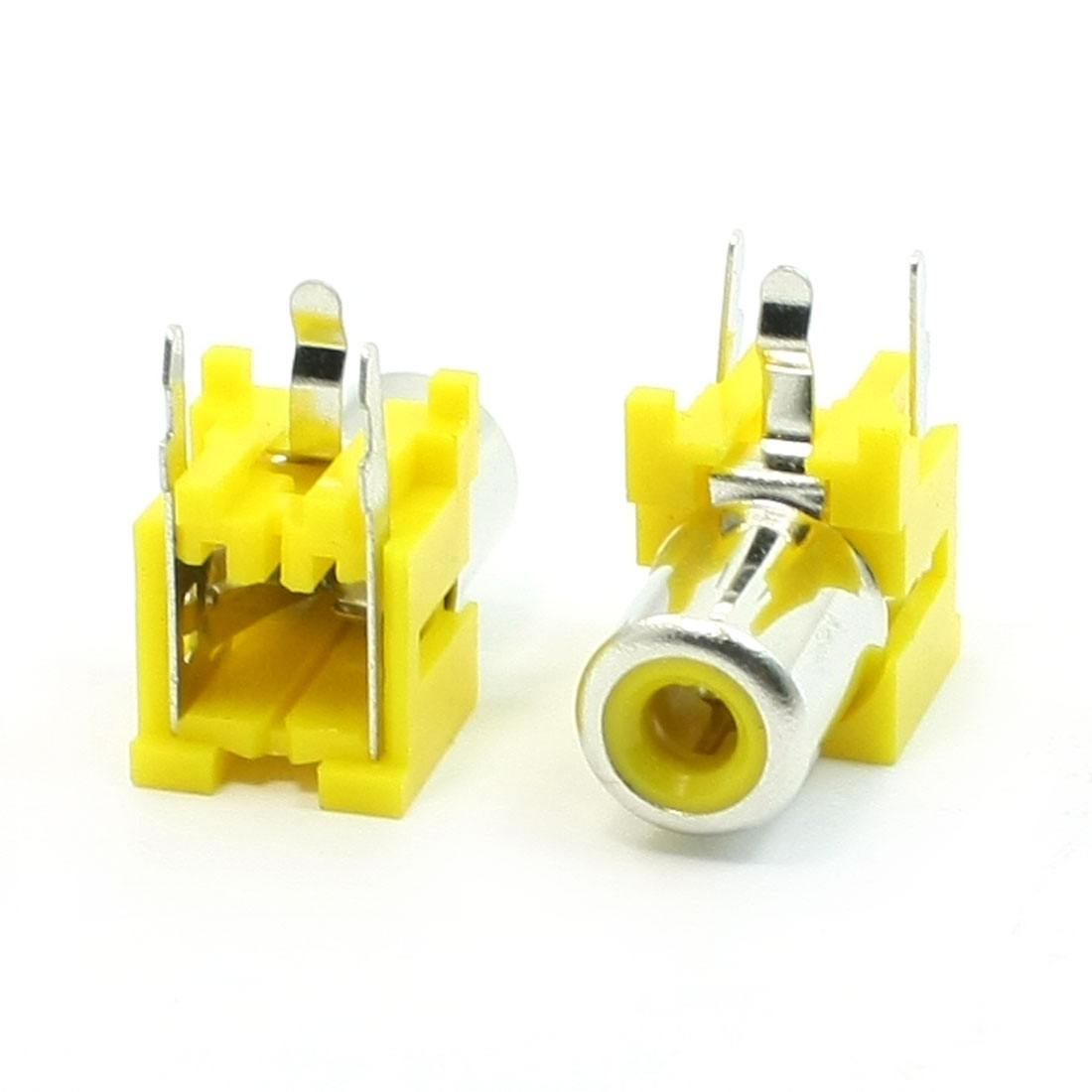 2 Pcs 3 Pins Female Outlet Jack Connector AV RCA Socket Yellow