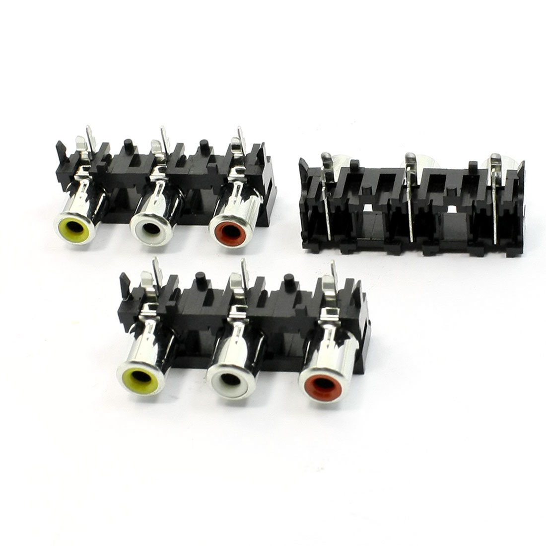 3 Pcs 3 RCA PCB Mount Female Outlet Jack Connector RCA Socket Black