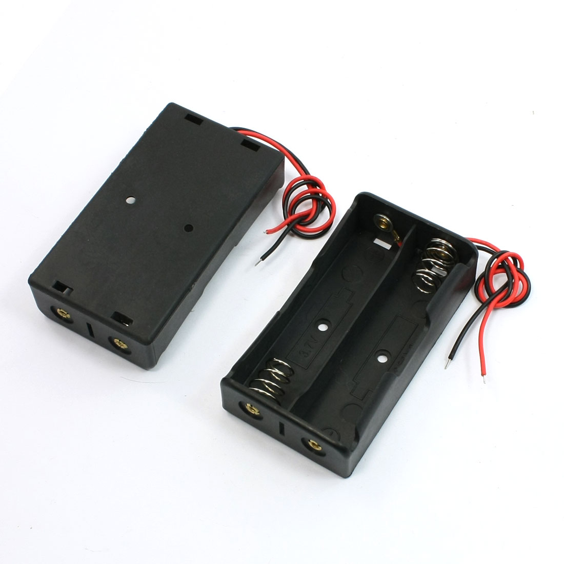 2pcs Black 2 x 18650 3.7V Battery Holder Case Box w Wire Leads