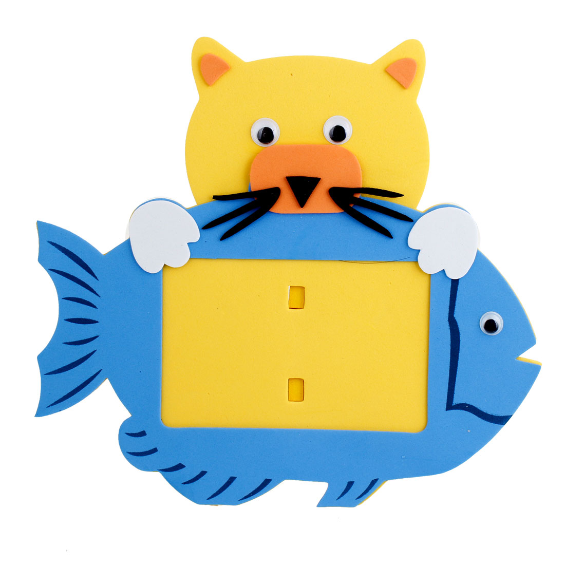 Office Desk Foam Cat Fish Shaped Photo Frame Yellow Blue