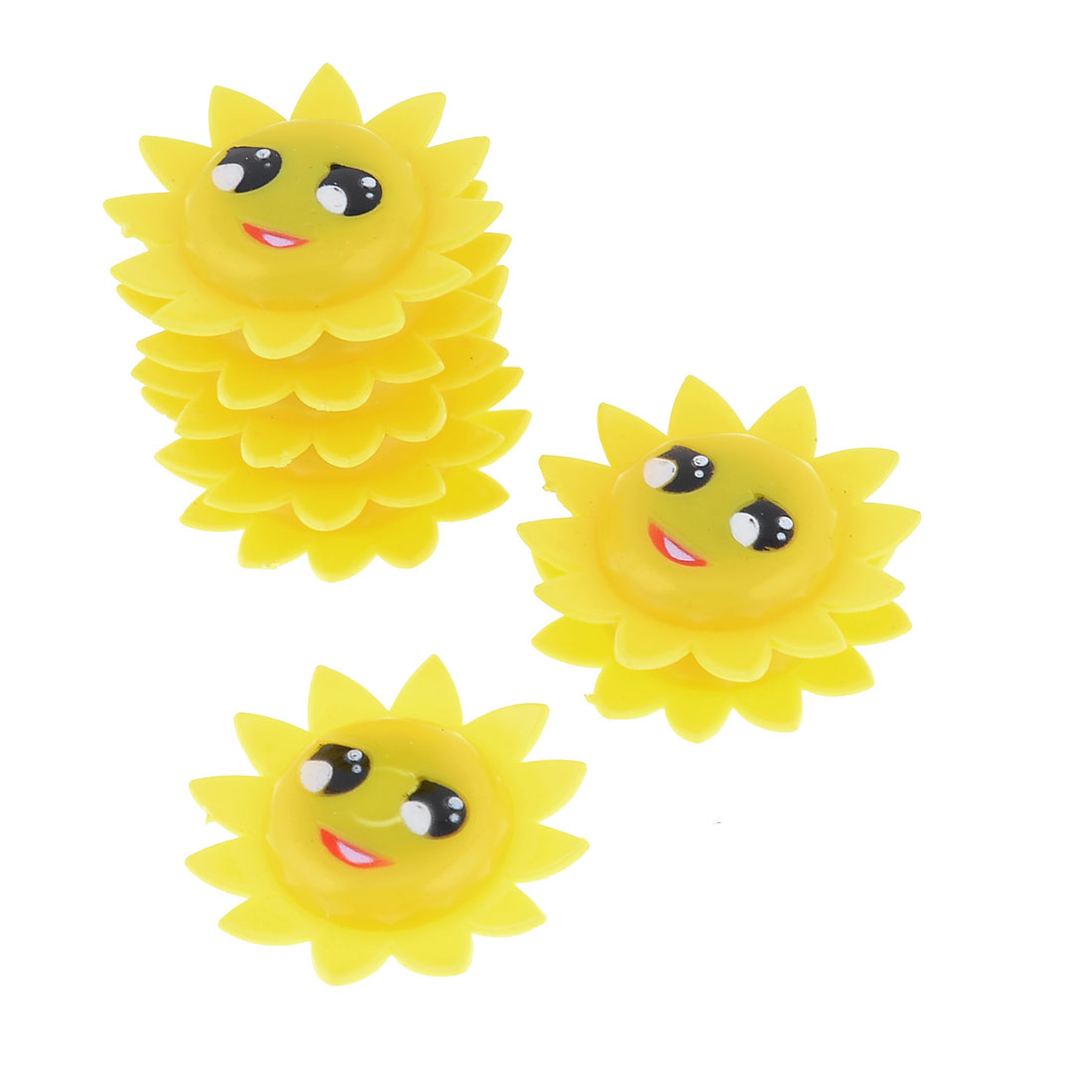 8 Pcs Yellow Plastic Sunflower Shape Fridge Magnetic Sticker Ornament