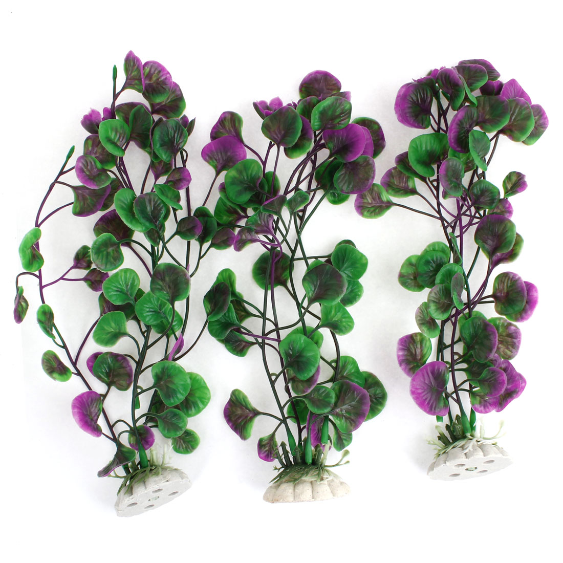 "3 Pcs Purple Green Plastic Aquatic Water Weeds Plant 8.9"" for Aquarium"