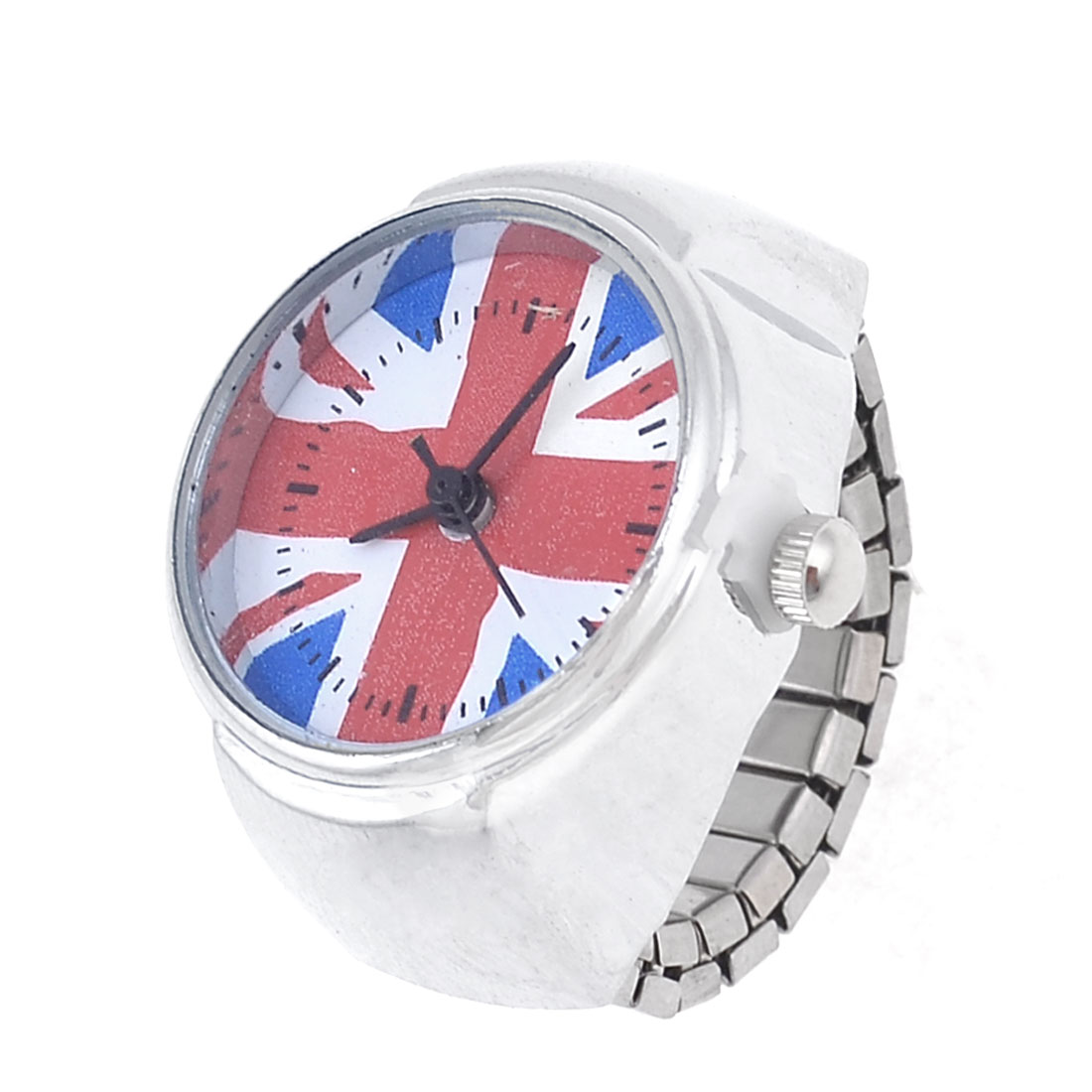 Lady Stretch Band Round Case UK Flag Finger Ring Watch UK J 1/2 15.7mm Inside Dia