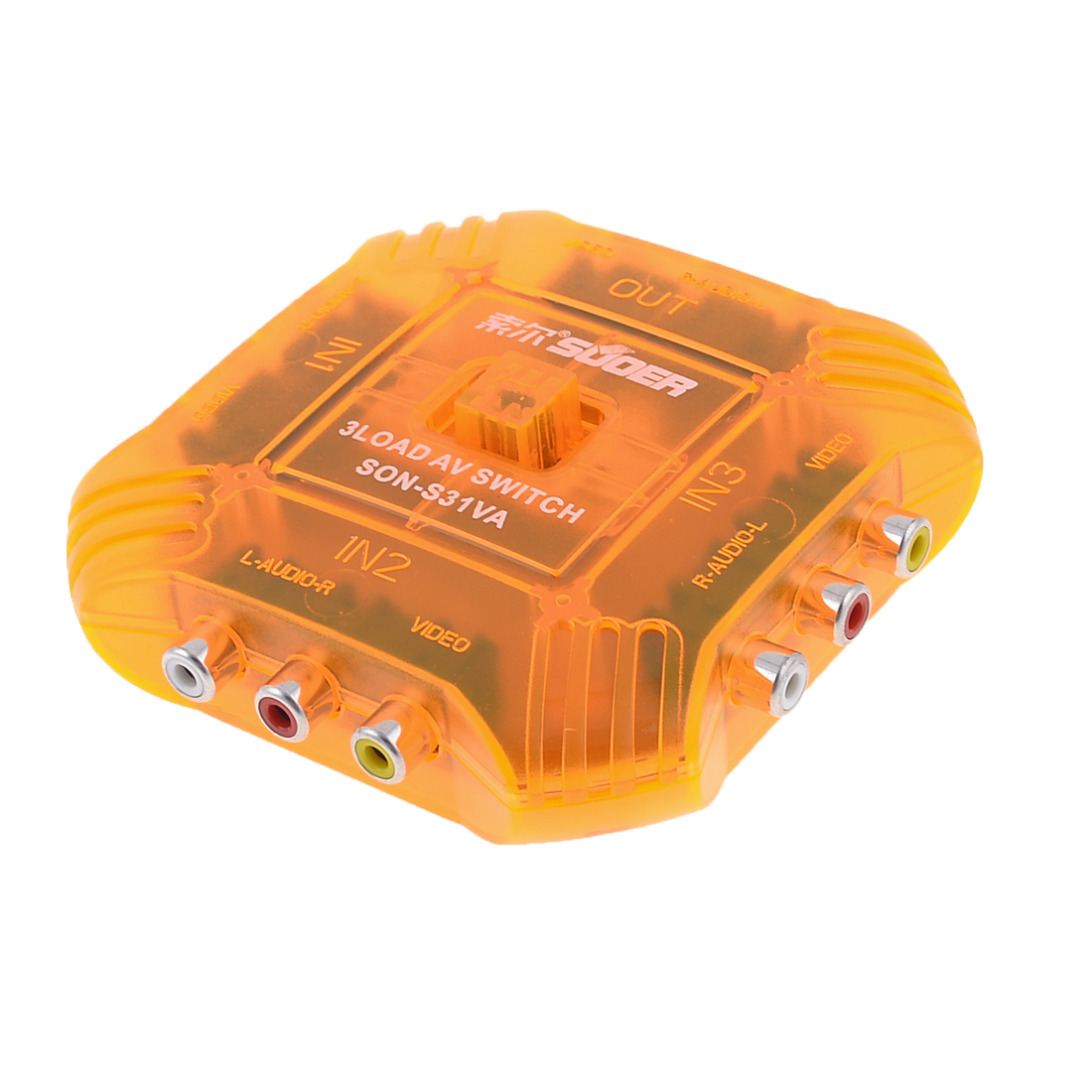 3 Input 1 Output Composite Audio Video Switch Orange for VCD DVD