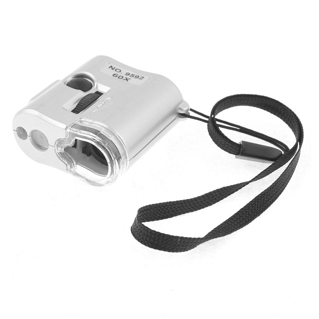60X Loupe Magnifier 2 LED Light 1 UV Lamp Gemstone Jewelry Silver Tone Shell