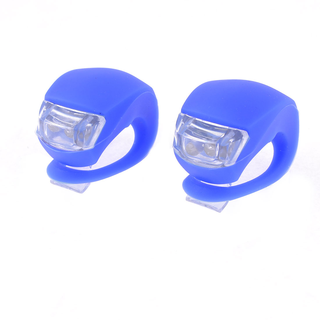 Bicycle Battery Powered Blue Two LED 3 Modes Elastic Head Light 2pcs