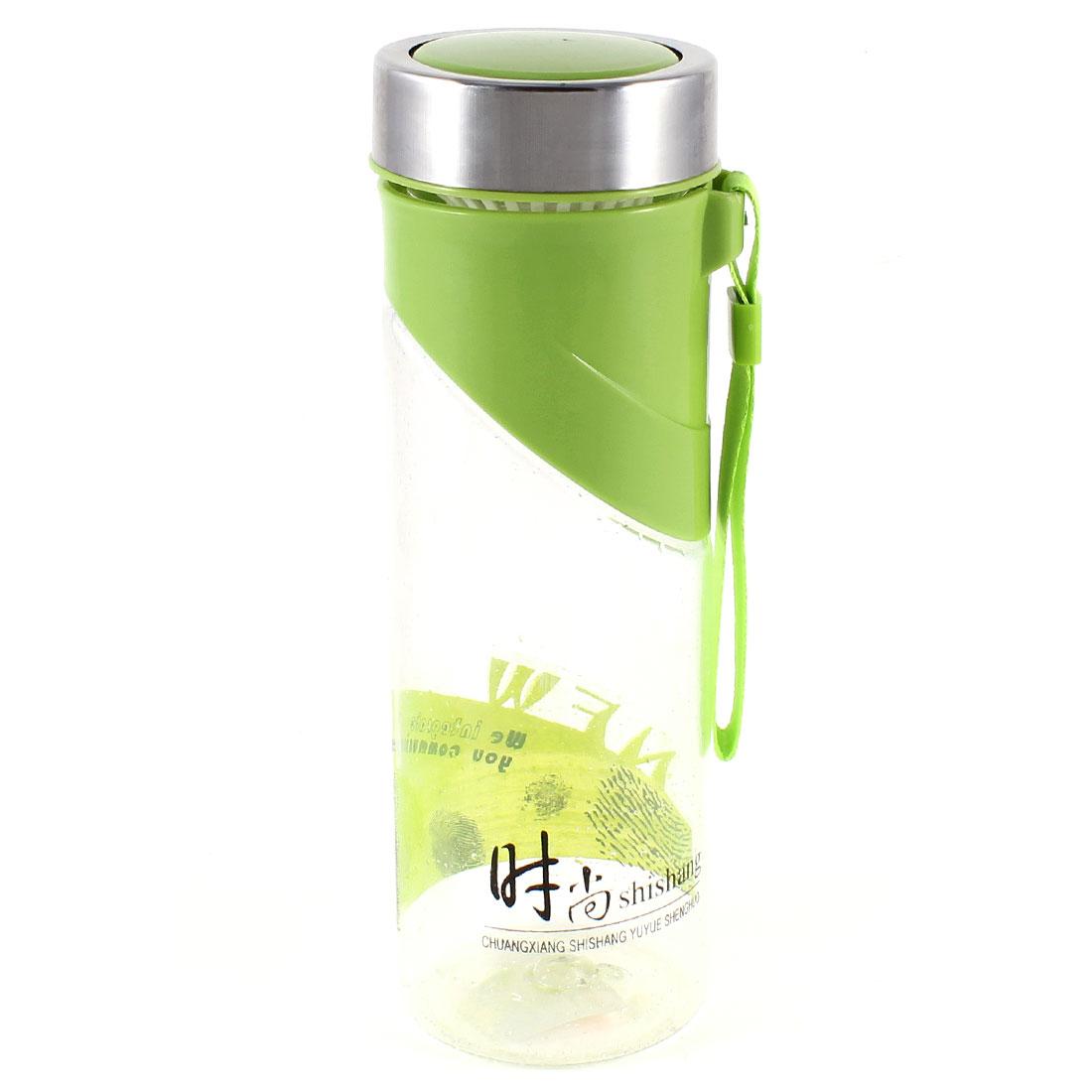 Portable Hiking 500ml Green Clear Plastic Water Bottle Holder w Tea Strainer