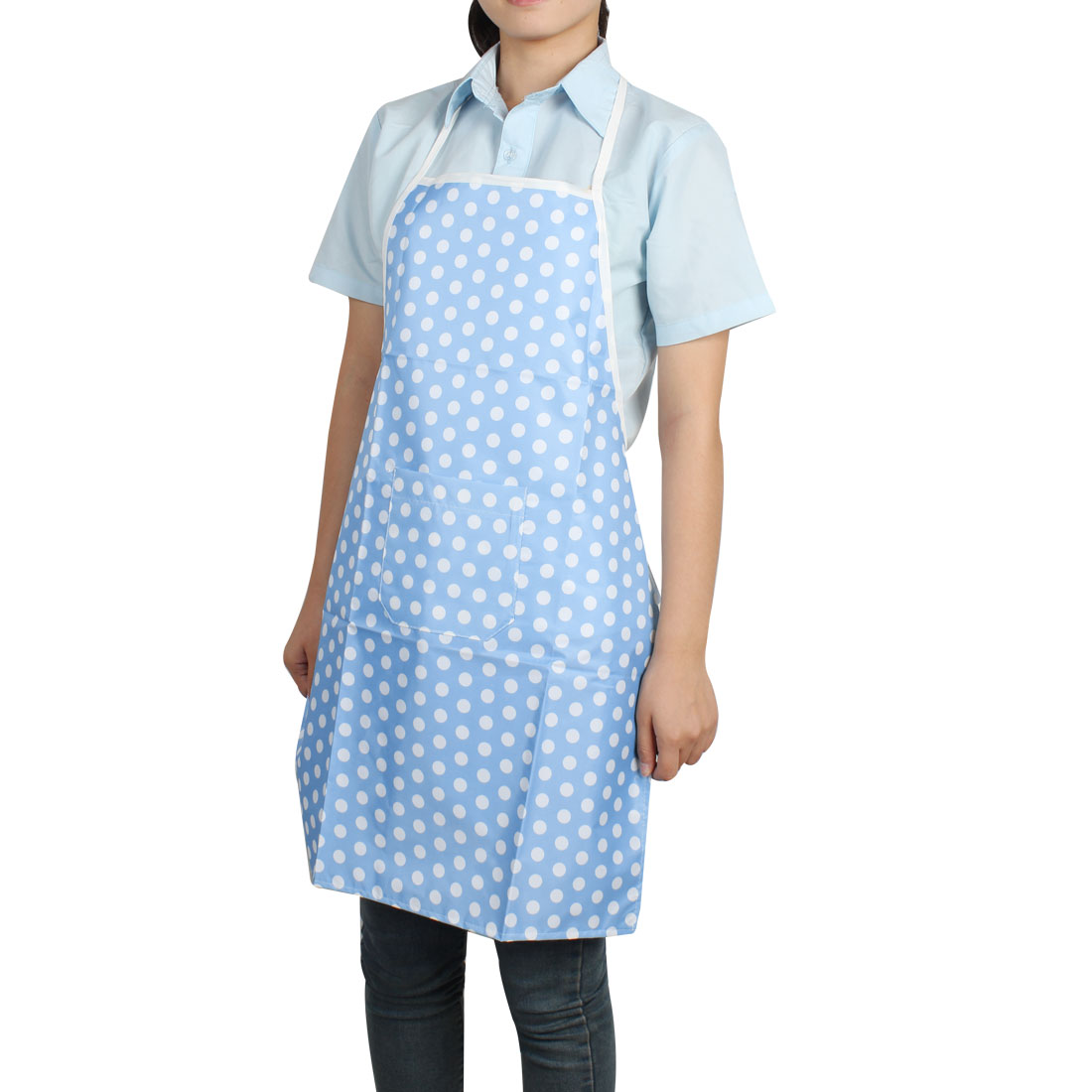 Family Women Sky Blue White Dots Pattern Waterproof Pocket Bib Apron