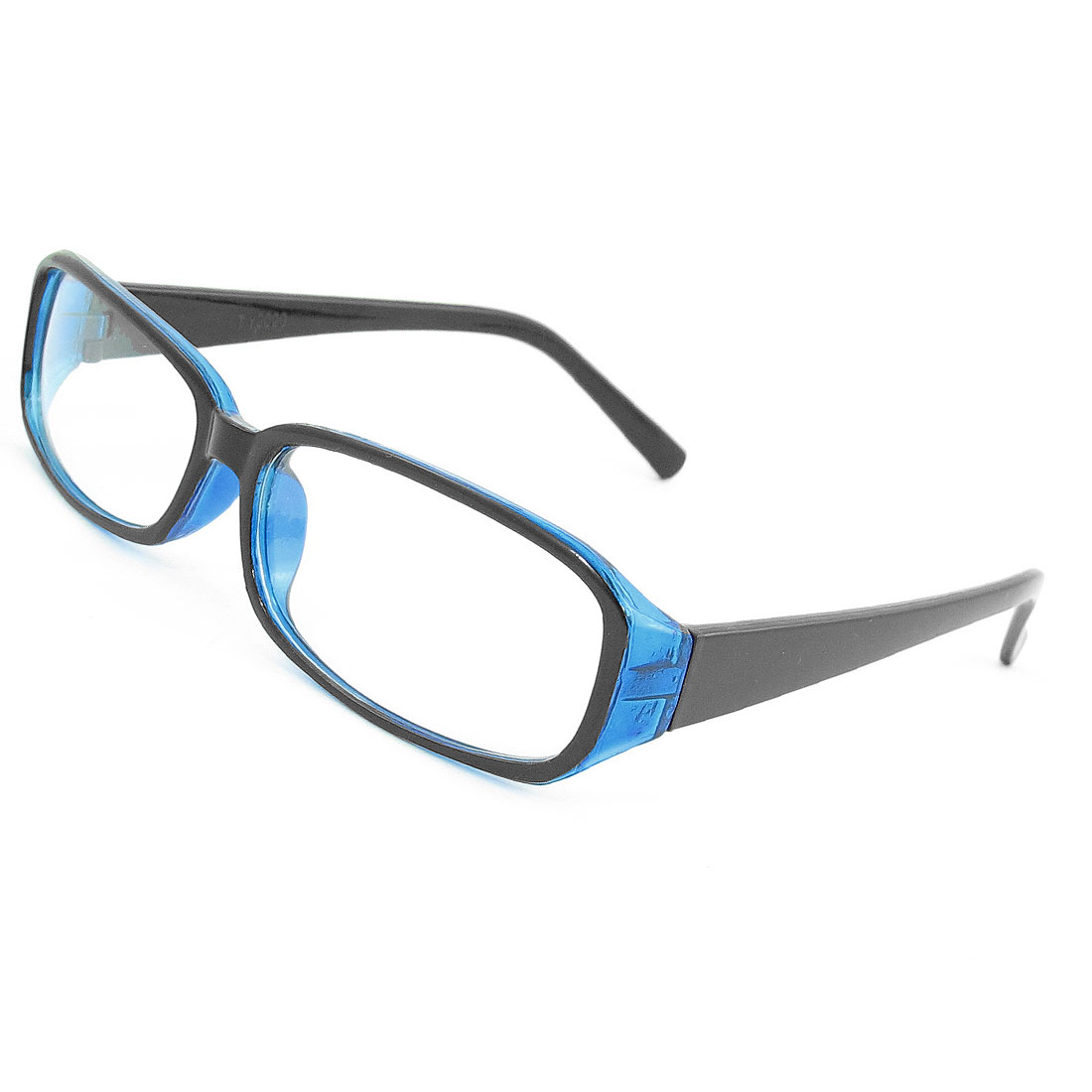 Unisex Plastic Black Arms Full Rim Frame Clear Lens Plano Eyeglasses