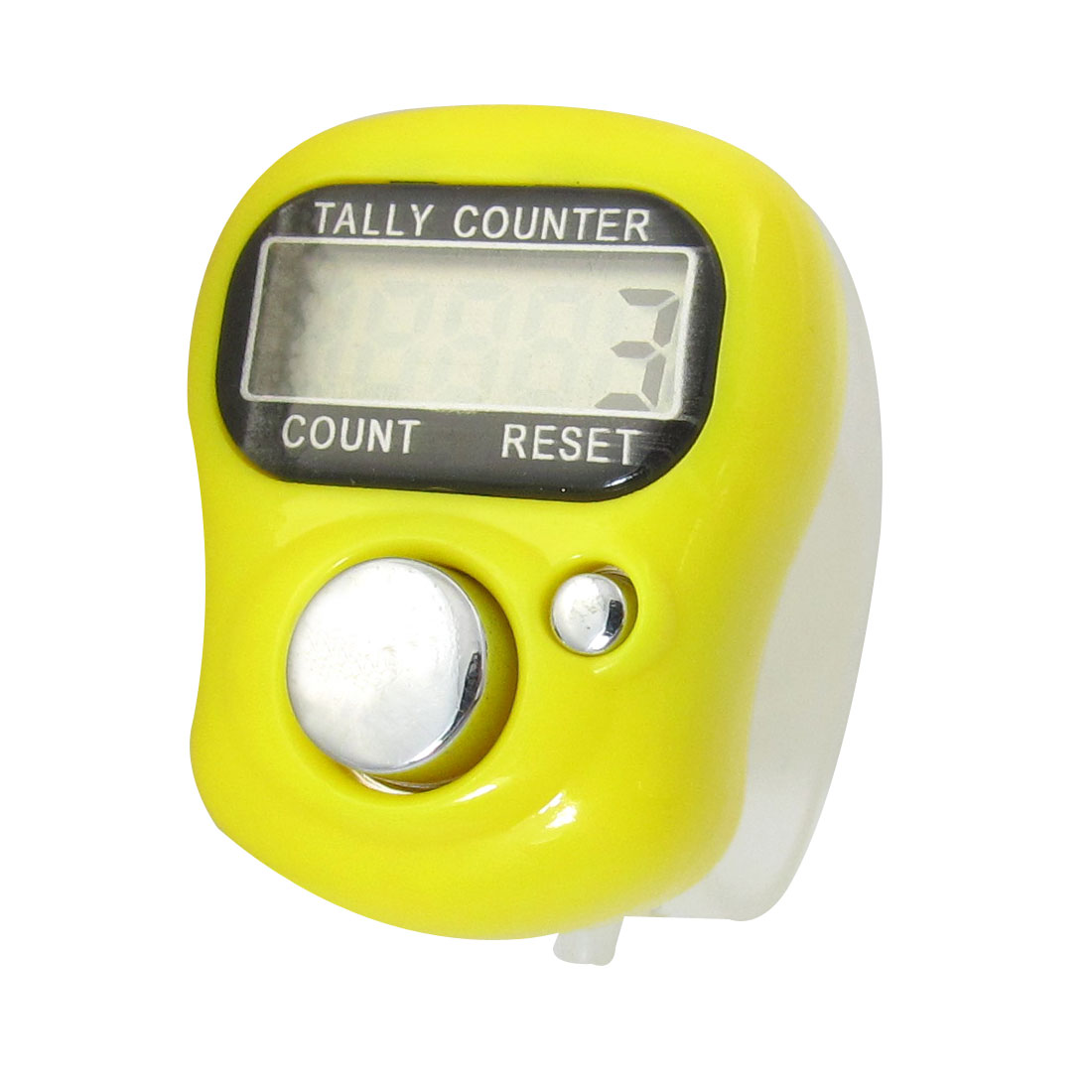 Clear Plastic Band Yellow Electronic LCD Finger Tally Counter
