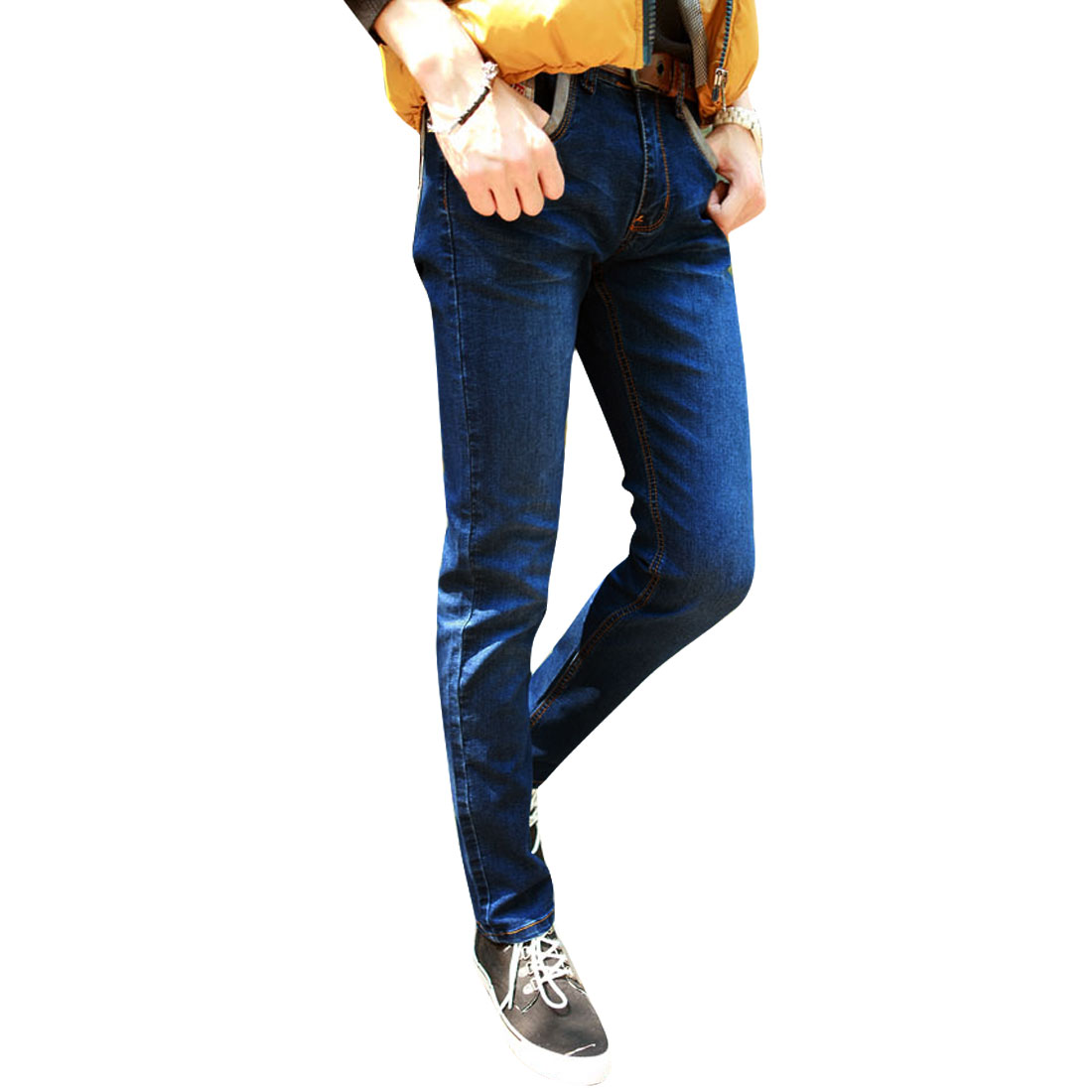 Men Zip Up Waistband Loop Four Pockets Denim Pants Dark Blue W32