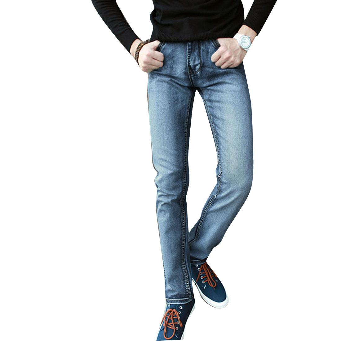 Men Zip Up One Button Up Straight Legs Denim Pants Pale Blue W32